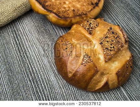 Special Breads In Paper Package, Delicious World Breads, Breads With Sesame Seeds And Turkey Grass,