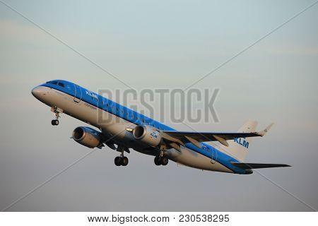 Amsterdam, The Netherlands  - June 1st, 2017: Ph-ezv Klm Cityhopper Embraer Erj-190std Taking Off Fr