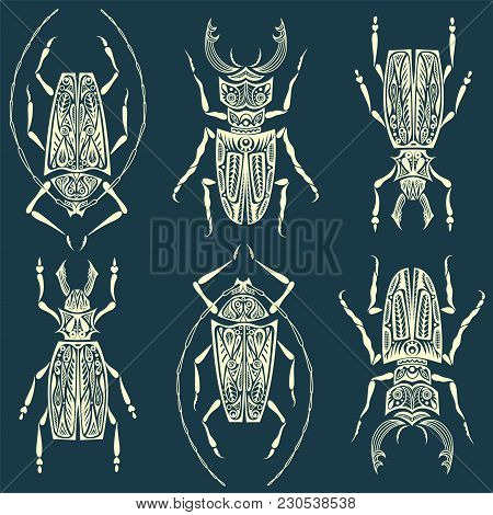 Insects Linear Pattern - Vector Seamless Texture Or Background With Bugs And Beetles In Thin Line St