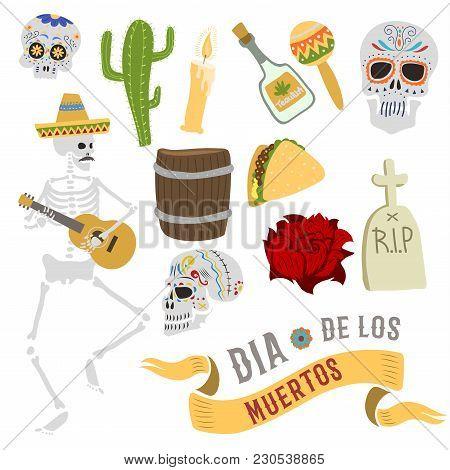 Dia De Los Muertos Mexica Dead Day Celebration Dead Skull Bones Man And Symbols. Skull Catrina Party