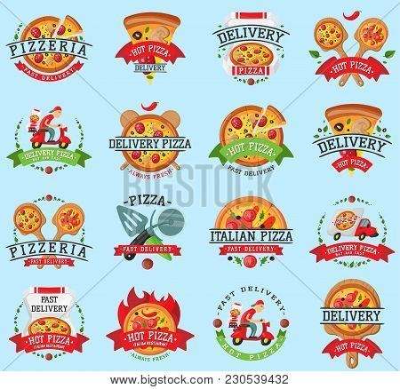 Pizza Food Restaurant Vector Logo Badge Icons Set Illustration. Food And Drink Pizzeria Elements Typ