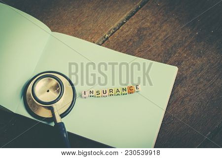 Risk Management Concept Word Block Insurance On Paper Over Wooden Background