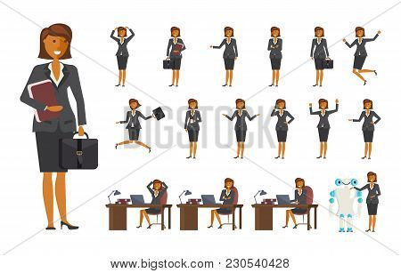 Smart Business Woman Character Creation Set With Various Views, Face Emotions, Poses And Gestures In