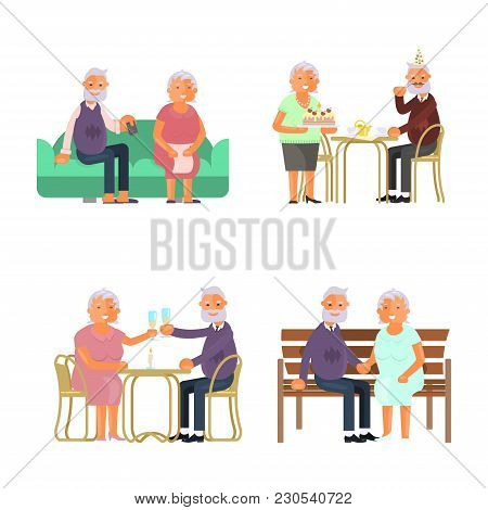 Healthy Active Lifestyle Retiree For Grandparents. Elderly People Characters.  Grandparents Family S