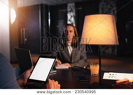 Two Coworkers Meet In Night Loft Office. Manager Conducts An Interview. Dialogue Of Businessmen Abou