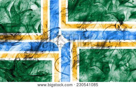 Portland City Smoke Flag, Oregon State, United States Of America