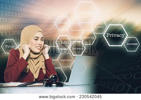Cyber Security Business Concept, Stress Face Expression Young Women Sitting In Front Her Laptop Over