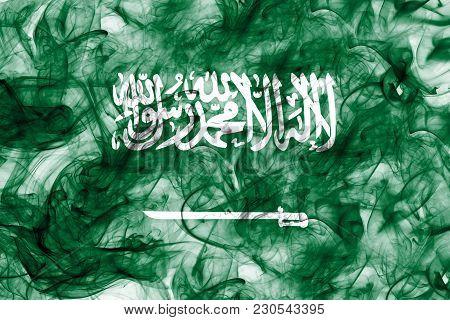 Saudi Arabia Smoke Flag On A White Background