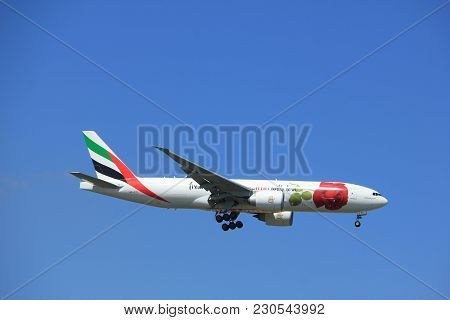 Amsterdam The Netherlands - July 9th 2017: A6-efl Emirates Boeing 777 Approaching Schiphol Amsterdam