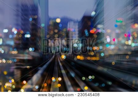 Night Light Blurred Bokeh City Building Double Exposure Abstract Background