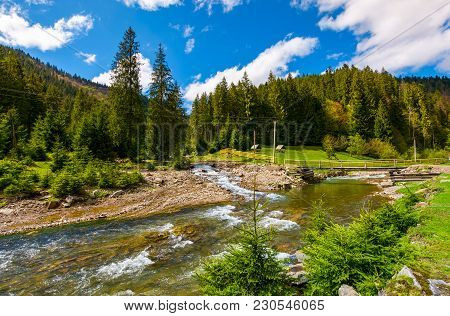 Beautiful Landscape With Forest River In Mountains. Lovely Springtime Scenery On Bright Day With Som