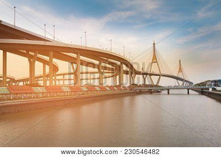 Twin Rama9 Suspension Bridge River Front, Bangkok Thailand