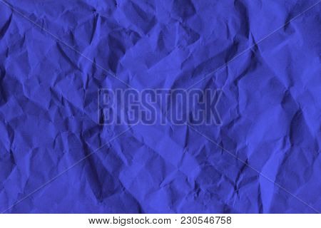 Crumpled Of Blue Recycle Paper Background, Textured For Background.