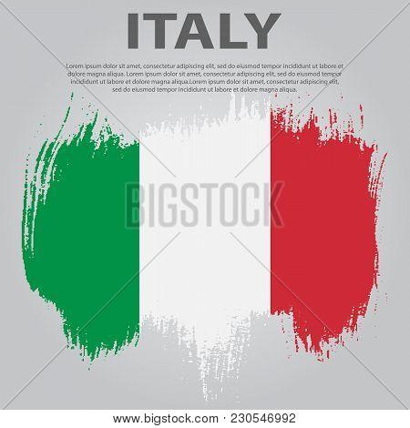 Italian Flag. Flag Of Italy, Brush Stroke Background. Italian Republic Holiday