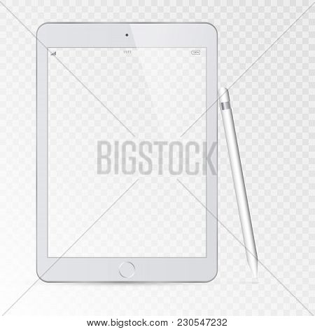 Modern Tablet With A Transparent Screen. Modern White Touchscreen Cellphone Tablet Smartphone Isolat