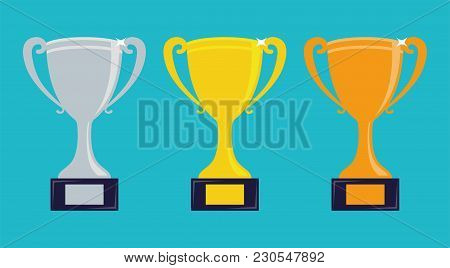 Trophy Cups. Gold, Silver And Bronze Cups. Vector Illustration.