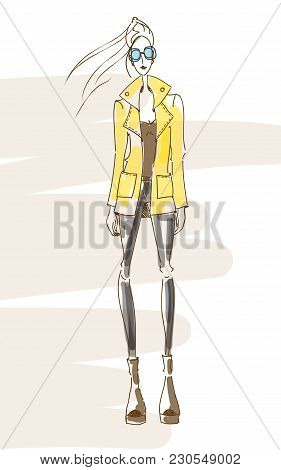 Vector Fashion Model. Vector Sketch Coat. Vector Vintage Lady. Jacket Pencil Sketch. Vector Fashion