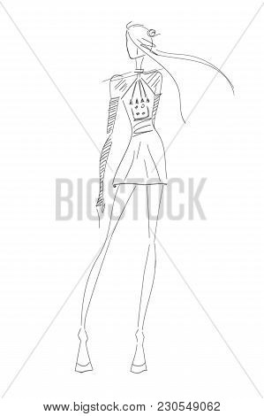 Vector Fashion Hot Model. Vector Sketch Fashion Silhouette. Painting Vintage Lady. Digital Fashion S