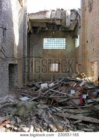 Abandoned And Destroyed Building Interior Of The Factory