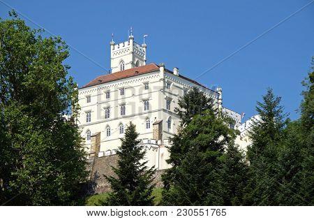 TRAKOSCAN, CROATIA - JULY 02: Castle Trakoscan in Croatia, built around 1334 as a Croatia's northwestern fortification system, on July 02, 2016.