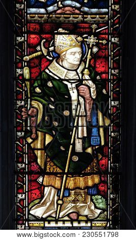 ROME, ITALY - SEPTEMBER 02: Saint Thomas Becket (from Canterbury) on the stained glass of All Saints' Anglican Church, Rome, Italy on September 02, 2016.
