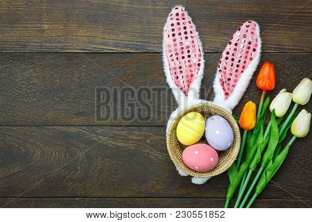 Top View Shot Of Arrangement Decoration Happy Easter Holiday Background Concept.flat Lay Colorful Ea