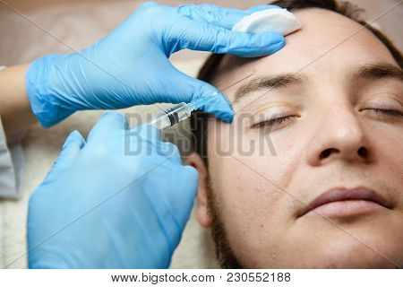 Doctor Aesthetician Makes Beauty Injections. Doctor Aesthetician Makes Hyaluronic Acid Rejuvenation