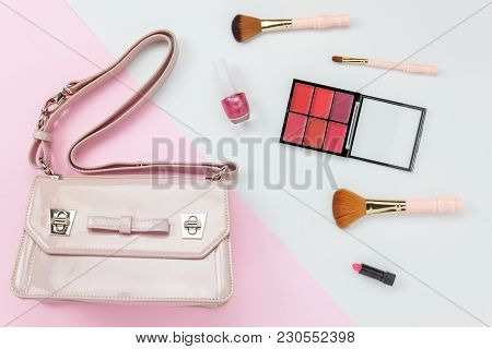 Table Top View Aerial Image Accessory Of Clothing Women  Plan To Travel In Holiday Background Concep