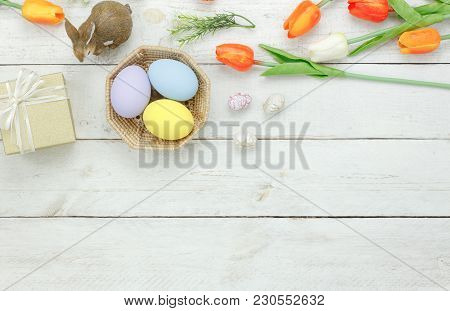Table Top View Shot Of Decoration Happy Easter Holiday Background Concept.flat Lay Bunny Egg With Tu