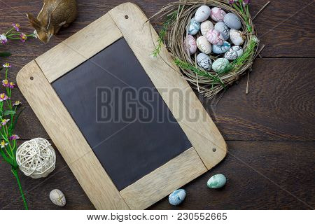 Shot Of Decoration Happy Easter Holiday Background Concept.arrangement Bunny Eggs On The Modern Rust