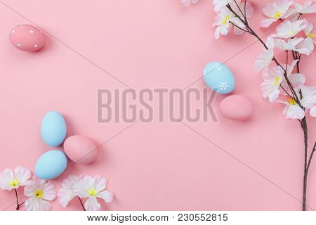 Top View Aerial Image Of Decoration & Symbol Happy Easter Holiday Background Concept.flat Lay Access