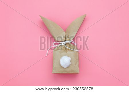 Top View Shot Of Arrangement Decoration Happy Easter Holiday Background Concept.flat Lay Minimalism