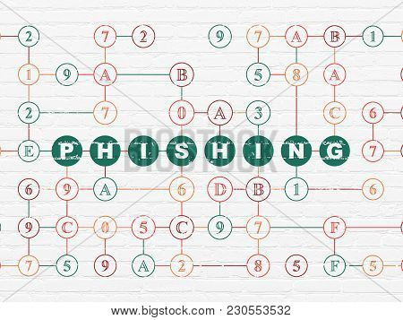 Privacy Concept: Painted Green Text Phishing On White Brick Wall Background With Hexadecimal Code