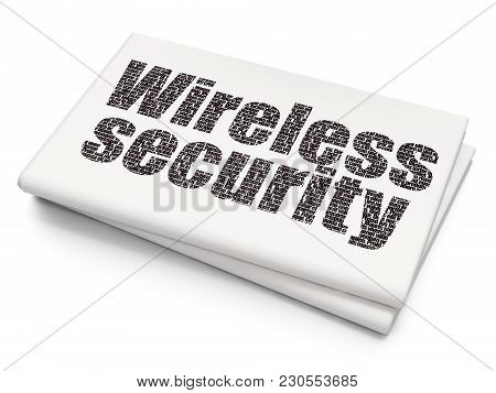 Protection Concept: Pixelated Black Text Wireless Security On Blank Newspaper Background, 3d Renderi
