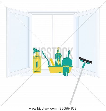 Set For Cleaning Open Window On A Window Sill Cleaning Agent In A Bottle Gloves Scoop Brush Sponge W