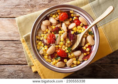 Succotash Of Corn, Butter Beans, Tomatoes And Bacon Close Up In A Bowl. Horizontal Top View