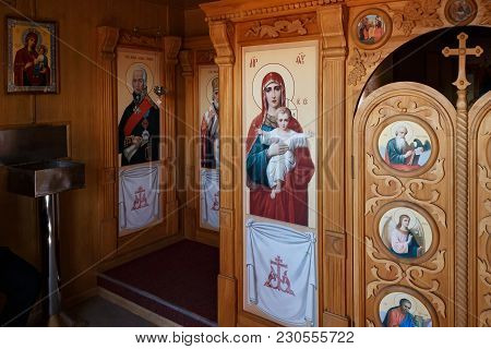 Kaliningrad, Russia - June 19, 2016: Interior Of The Ship Orthodox Chapel Of The Saint Admiral Feodo