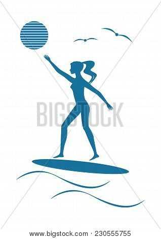 Surfer Girl Sketch Surfboard Sun Wave Modern Flat Style On A White Background Art Creative Vector El