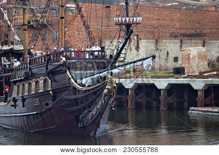 Gdansk, Poland - June 07, 2014: Wooden Tourist Ship Stylized As A Pirate Boat With Unknown People On