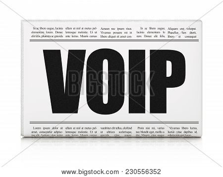 Web Design Concept: Newspaper Headline Voip On White Background, 3d Rendering