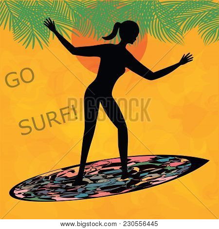 Silhouette Of A Surfer On A Surfboard Palm Bright Orange Background Decorative Art Abstract Creative