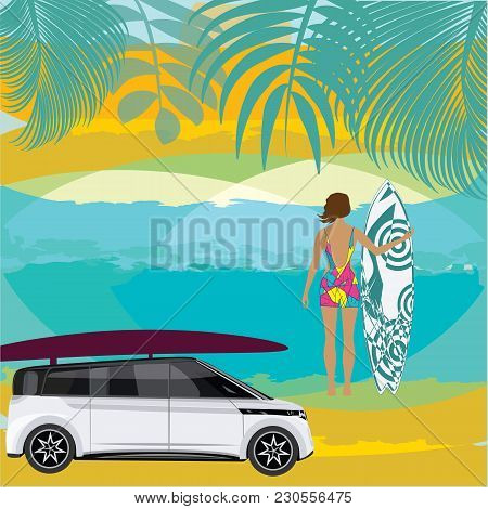 Surfing Woman Surfboard Car Sea Palm Leaf Creative Abstract Art Vector Illustration Travel Poster