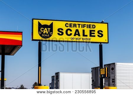 Indianapolis - Circa March 2018: Cat Truck And Trailer Scale. Cat Scale Installed Its First Scale In