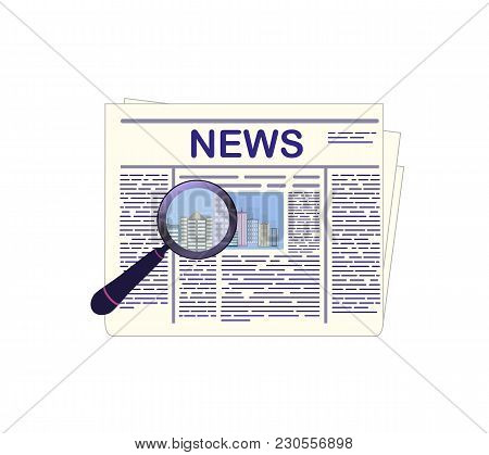 Current Events. Newspaper And Magnifying Glass. Vector Illustration Isolated On White Background.