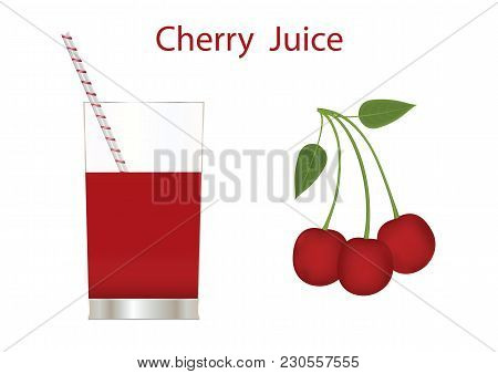 Cherry Juice In A Glass Of Red Cherry With Leaves Isolated On White Background Art Creative Vector E