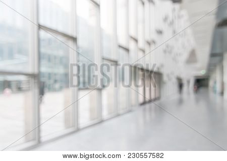 Office Building Or University Lobby Hall Blur Background With Blurry School Hallway Corridor Interio