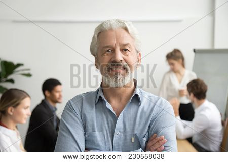 Confident Senior Businessman Leader Looking At Camera With Team At Background, Smiling Aged Company