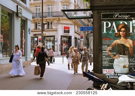 Paris, France, June 19: Parisians And Visitors At The Intersection Of Rue Des Ecoles And Boulevard S