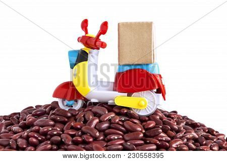 Colorful Motorcycle With Delivery Boxes And A Lot Of Red Beans Pile On The White Background With Cop