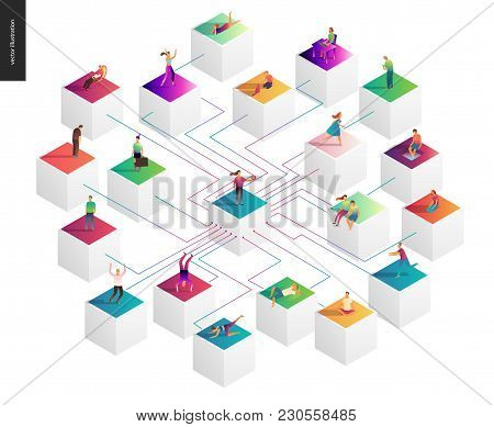 Network Concept Vector Illustration - Scheme Showing Users Connection And Interaction